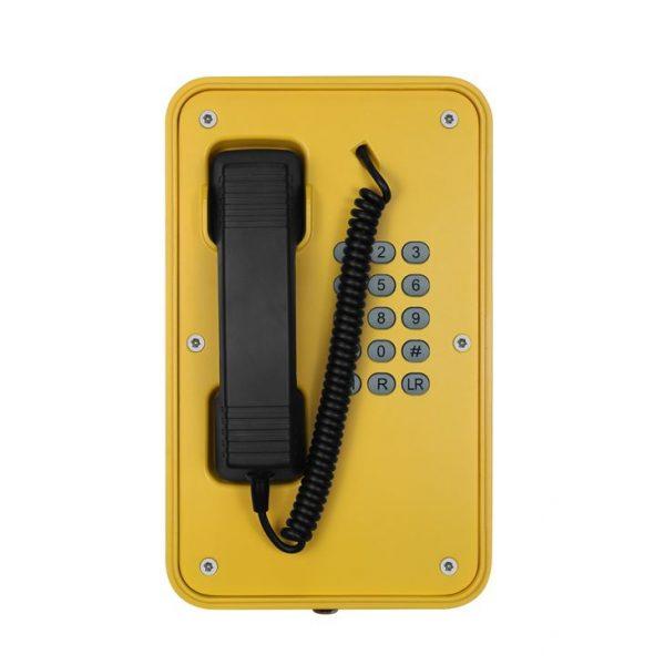 Teléfono industrial con cable espiral amarillo Vozell